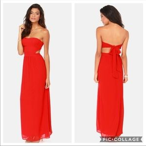 "Lulu's ""life of tie"" red maxi dress"